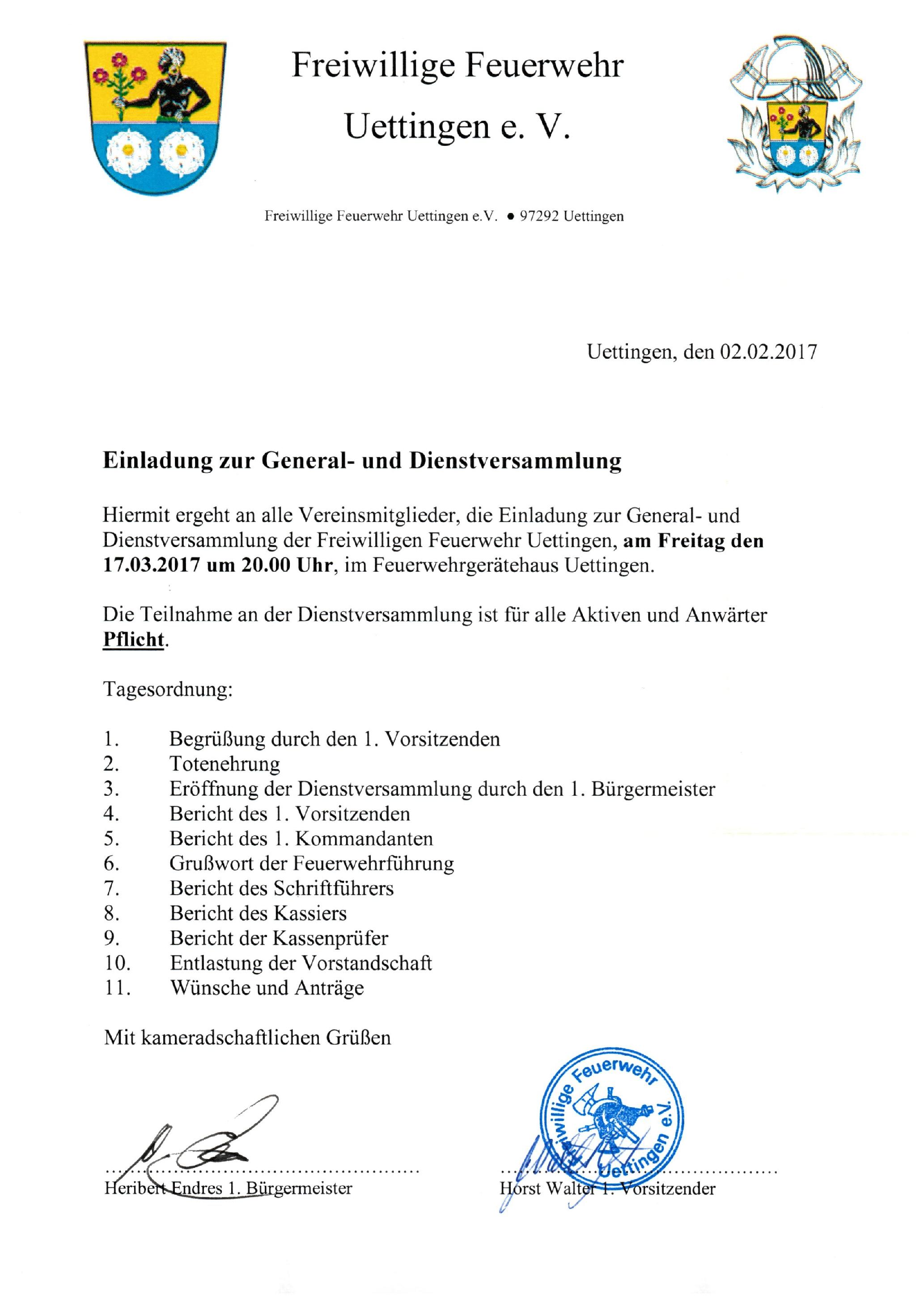 ff uettingen | retten – löschen – bergen – schützen | seite 2, Einladungen